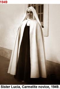 Fotografía de una novicia el día de su profesión, a simple vista más joven y diferente a la verdadera Lucía que verisímil ente murió ese mismo día.