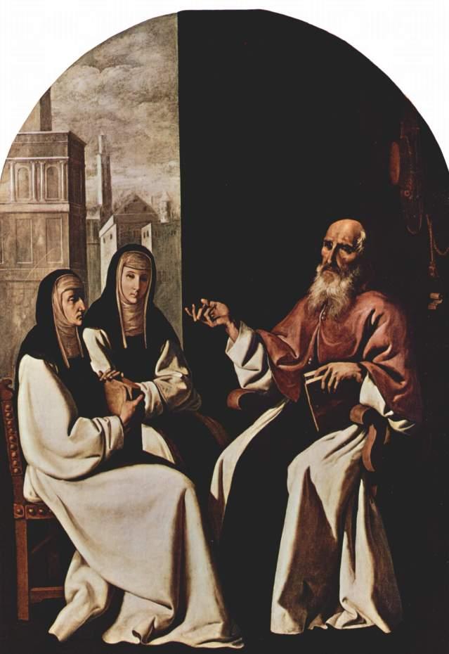 Santa Paula y su hija Santa Eustoquium aprenden de San Jerónimo Francisco de Zurbarán