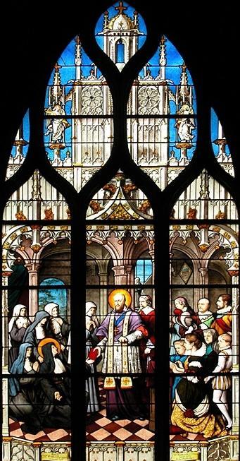 San Francisco de Sales visita las monjas de la Visitación. Emile Hirsch. Canopy del Saint-Severin. París. XIX.