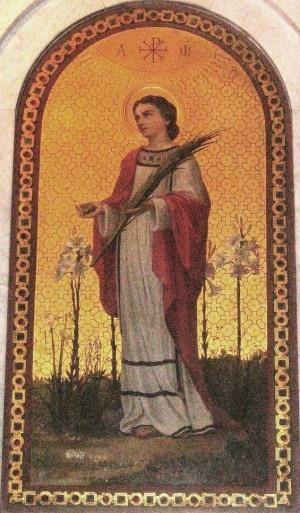 Pintura decimonónica de la Santa, portando en la mano su instrumento de martirio: una piedra. Obra de Eugenio Cisterna (1892), capilla de la Santa en la basílica de Sant'Agnese Fuori le Mura, Roma (Italia).