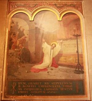Lapidación de la Santa. Pintura de Eugenio Cisterna (1892), capilla de la Santa en la Basílica de Sant'Agnese Fuori le Mura, Roma. Fotografía: Alvaro de Alvari