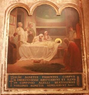 Entierro de la Santa. Pintura decimonónica de Eugenio Cisterna (1892). Capilla de la Santa en la Basílica de Sant'Agnese Fuori le Mura, Roma. Fotografía: Alvaro de Alvariis.
