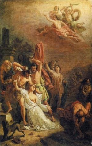 Lapidación de la Santa. Lienzo de autoría y procedencia desconocidas.