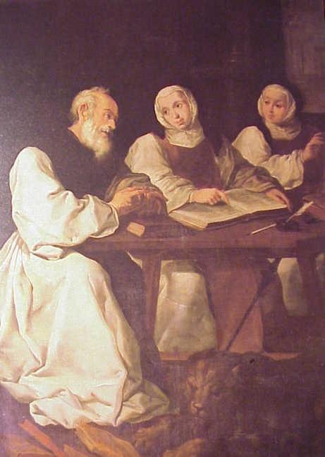 San Jerónimo, santa Paula y su hija Santa Eustoquio, comentan las Sagradas Escrituras, en Belén, donde moraba el Santo. Zurbarán S. XVII .