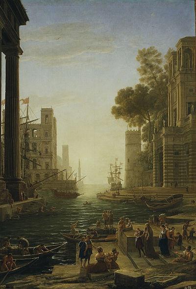 Paisaje con el embarque en Ostia de Santa Paula, camino de Tierra Santa. Claudio de Lorena.