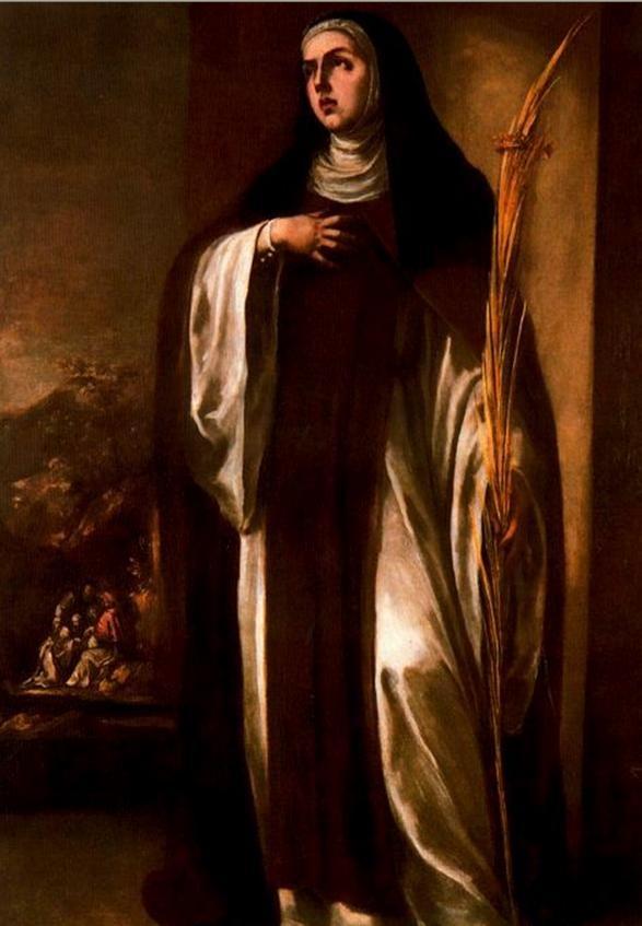 Santa Eustoquio, hija de Santa Paula, vestida de monja Jerónima. Zurbarán. S. XVII