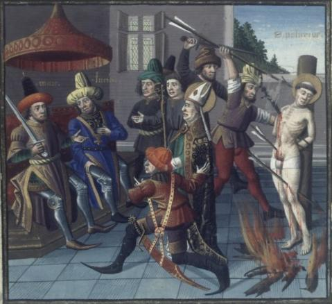 San Policarpo ante el procónsul. Speculum Historiale. V. de Baeuvais. S. XV