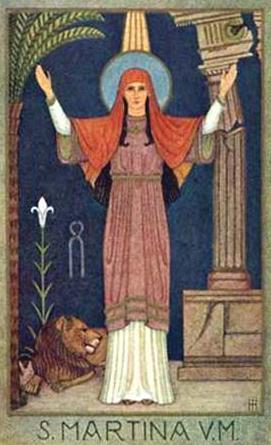 Santa Martina con los atributos de su martirio, según una antigua ilustración latina