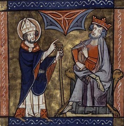 San Patricio y el rey Laoghaire. Legenda aurea. Bx. J. de Voragine. R. de Monbaston. XIV.