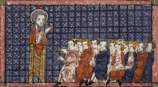 San Patricio predicando. Vidas de santos. Jeanne Montbaston. XIV.