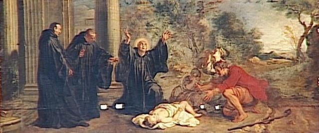Sainte Benita resucitando al hijo de un campesino. Louis de Sylvestre. XVIII