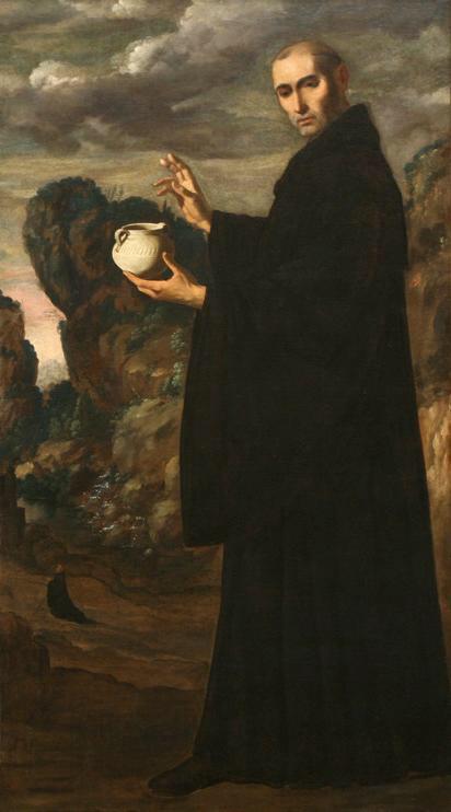 San Benito reconstruye milagrosamente el vaso de barro. Francisco de Zurbarán. XVII.