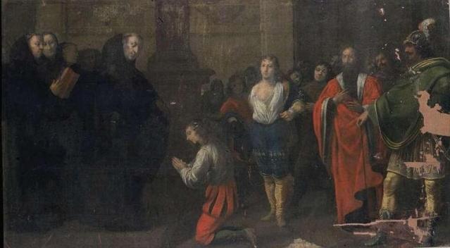 Presentación de San Mauro y San Placide a San Benito. Jean Bernard Chalette. XVII.