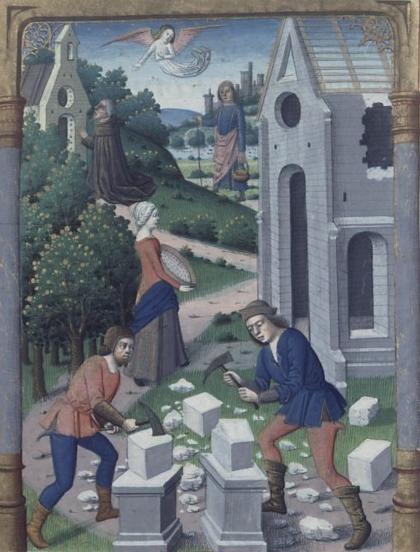 Construcción de la abadía de Montecassino. Legenda aurea. Bx J. de Voragine. Jacques de Besançon. XV.