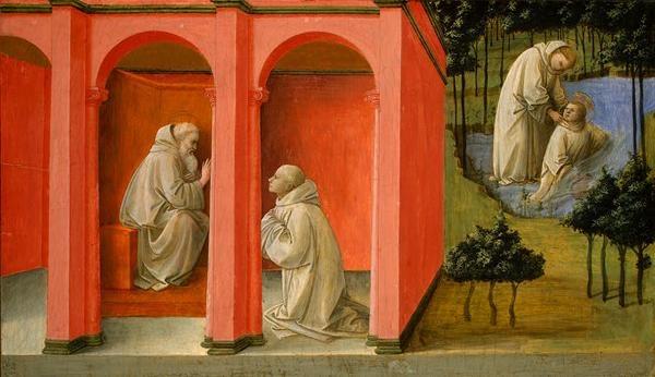 San Benito ordena a San Mauro ir al rescate de San Plácido sumergido en el lago. Fra Filippo Lippi. XV.