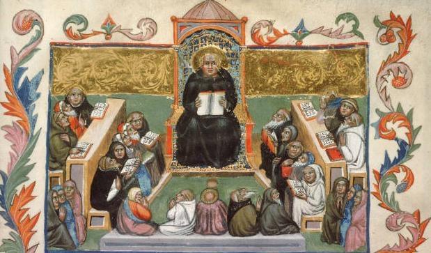 San Benito con la Regla. Códice de Benedicti regulam. XIV.