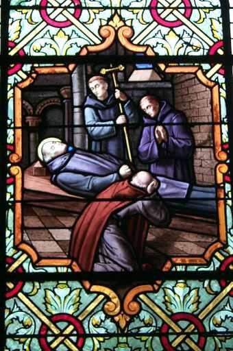 La muerte de San Benito. Iglesia de San Benito Saint-Benoit-des-Ondes. Países Malo. Gran Bretaña. Waves.
