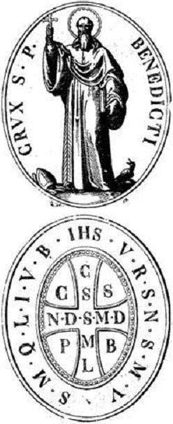 Medalla de San Benito. Anverso y reverso.