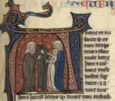 Santa Eufrasia tomando el hábito. Vidas de Santos. Hernia. S. XIII