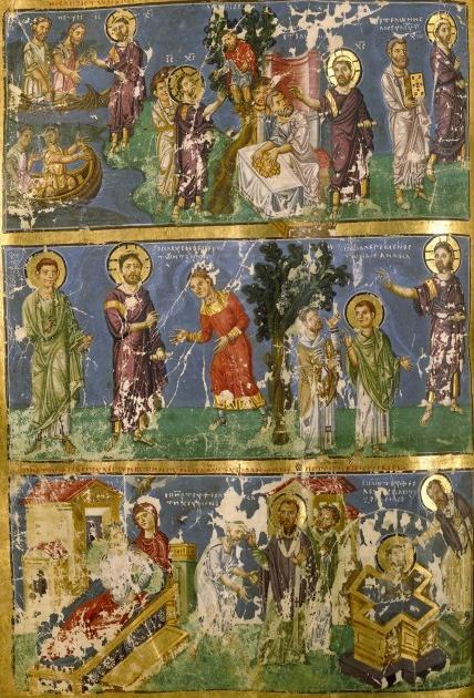La conversión del padre de San Gregorio. Manuscrito griego del siglo IX.
