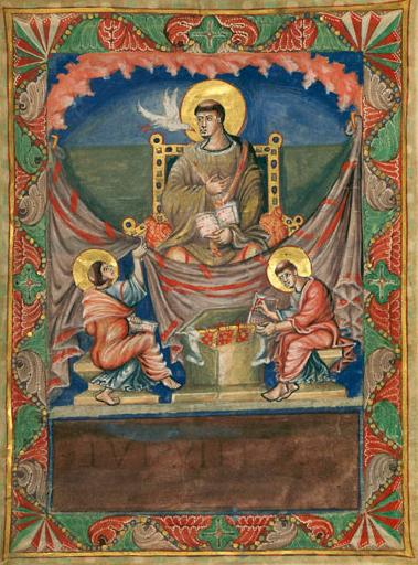 San Gregorio dictando a sus escribas. Sacramentario de Carlos el Calvo. IX.