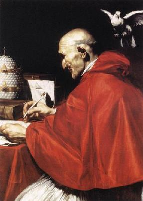 San Gregorio Magno inspirada por el Espíritu Santo. Carlo Saraceni. XVII.