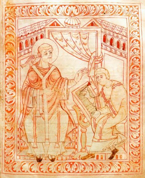 San Gregorio Magno que dicta la música de una canción. Antiphonal Abadía de San Galo. XI.