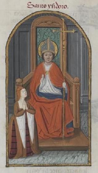 San Isidoro e Isabel la Católica. Pedro Marcuello. Libro de oraciones de la reina Isabel la Católica. XV.