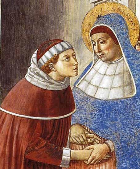 San Agustín se encuentra con San Ansobrio, gracias a la mediación y consejos de Santa Mónica