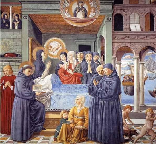Muerte de Santa Mónica. Detalle. Fresco. Benozzo Gozzoli. Chapelle Saint Augustine. San Gimignano. Toscana. XV.