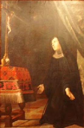 Durante la adoración a los pies de la Cruz, una espina de la corona santa fue cortado y se plantó delante de Santa Rita. Giovan Francesco Guerrieri. XVII.