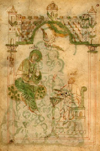 San Juan Evangelista inspirando a San Beda. Manuscrito austriaco del S. XII