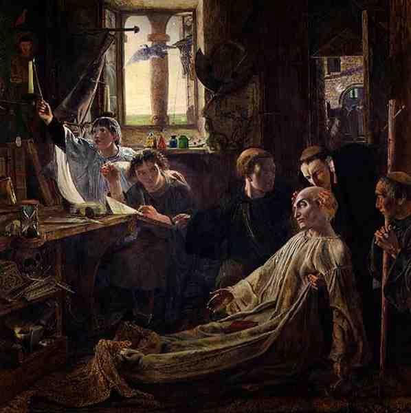 Muerte de San Beda. William Bell Scott. S. XIX