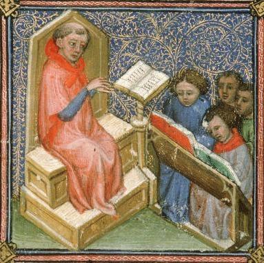 San Beda enseñando. Libro de oraciones de Avignon. S.XIV .