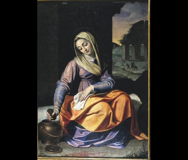 Bellísima composición dedicada a Santa Práxedes pintada por el artista italiano Scipio Pulzone «El gaetano» en 1590.