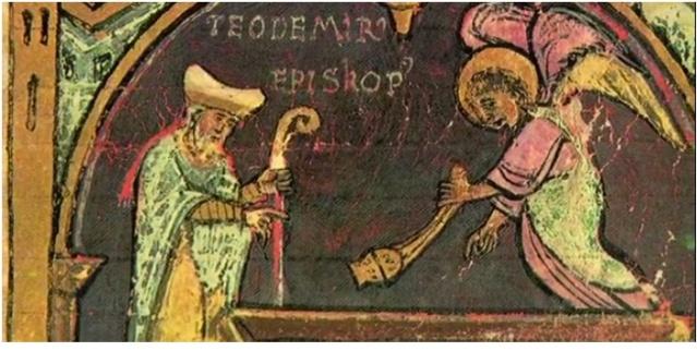 El obispo Teodomiro alertado por el eremita que había visto luces en el cielo, descubre el sepulcro del apóstol Santiago.