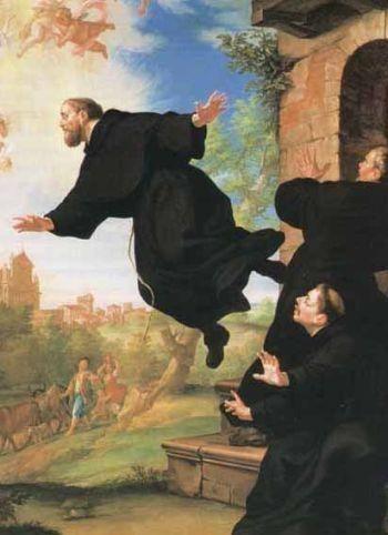 San José de Cupertino se eleva en dirección a la Basílica de Loreto. Basílica-Santuario de Osimo, Italia.