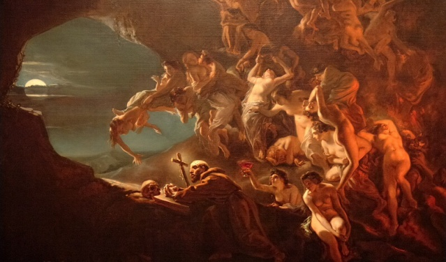 """Las tentaciones de San Hilarión"""". Lienzo de Octave Tassaert (1800-1874). Museo de Bellas Artes de Montréal, Canadá"""