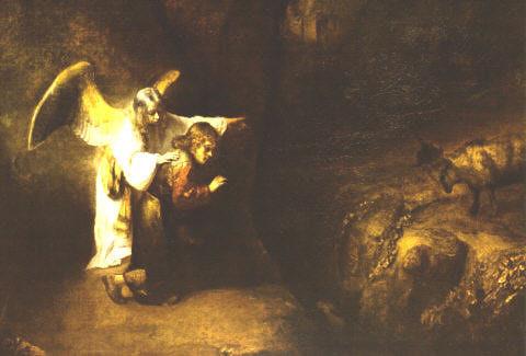 El Angel Gabriel explica a Daniel la visión. Por Rembrandt . S, XVII