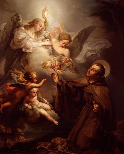 San Pascual adorando la Eucaristía. Óleo de Bernardo López Piquer
