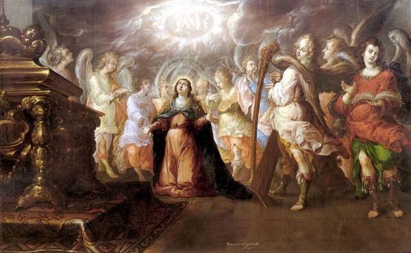 Veneración del Dulce Nombre de María. Óleo de Villalpando.